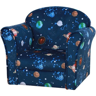 HOMCOM Space Themed Kids Mini Sofa Comfortable Padded Chair Wood Frame Blue