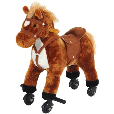 Wooden Action Pony Wheeled Walking Horse Riding Little Baby Plush Toy Wooden Style Ride on Animal Kids Gift w/ Sound (Brown) - Homcom