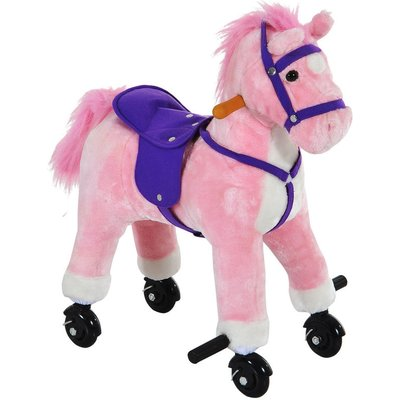 Wooden Action Pony Wheeled Walking Horse Riding Little Baby Plush Toy Wooden Style Ride on Animal Kids Gift w/ Sound (Pink) - Homcom