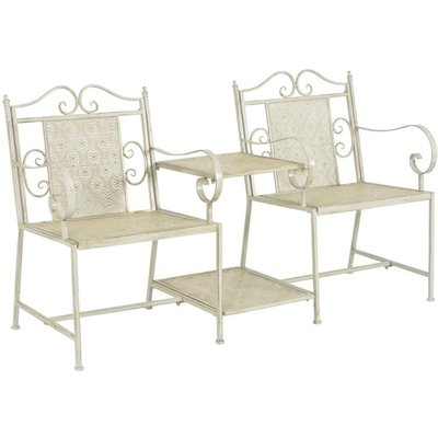 Hommoo 2 Seater Garden Bench 161 cm Steel White VD27532