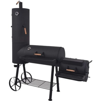 BBQ Charcoal Smoker with Bottom Shelf Black Heavy XXL VD27540 - Hommoo