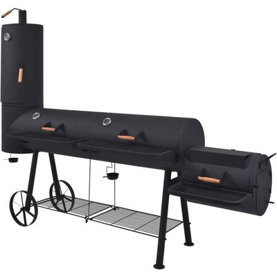 BBQ Charcoal Smoker with Bottom Shelf Black Heavy XXXL VD27541 - Hommoo