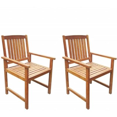 Garden Chairs 2 pcs Solid Acacia Wood Brown VD27148 - Hommoo