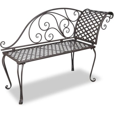 Hommoo Garden Chaise Lounge 128 cm Steel Antique Brown VD26221