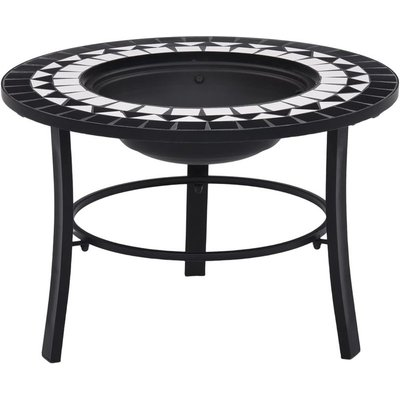 Mosaic Fire Pit Black and White 68cm Ceramic - Hommoo