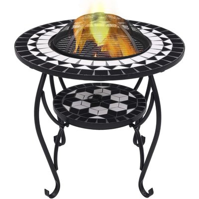 Mosaic Fire Pit Table Black and White 68 cm Ceramic VD30087 - Hommoo