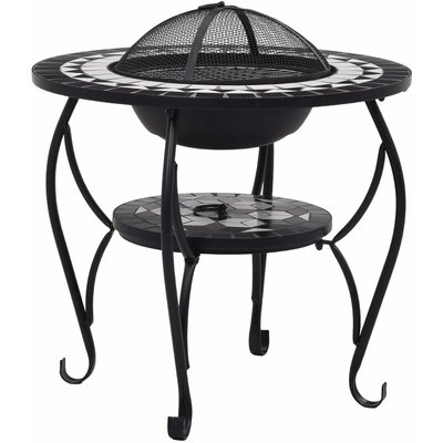 Mosaic Fire Pit Table Black and White 68 cm Ceramic QAH30087 - Hommoo