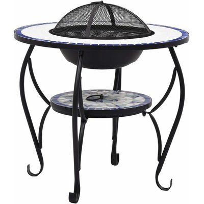 Mosaic Fire Pit Table Blue and White 68 cm Ceramic QAH30086 - Hommoo