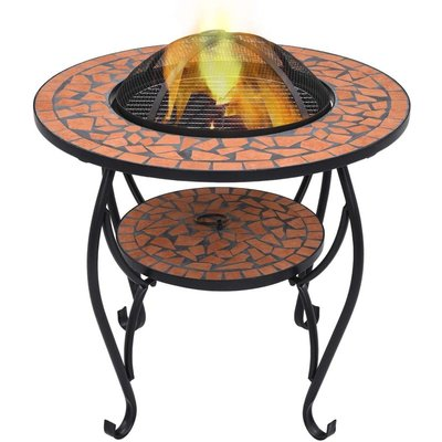 Mosaic Fire Pit Table Terracotta 68 cm Ceramic VD30085 - Hommoo