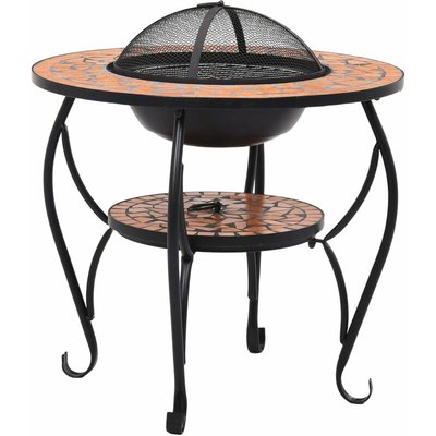 Mosaic Fire Pit Table Terracotta 68 cm Ceramic QAH30085 - Hommoo