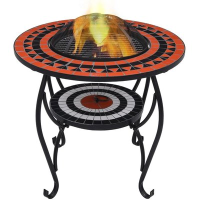 Mosaic Fire Pit Table Terracotta and White 68 cm Ceramic VD30088 - Hommoo