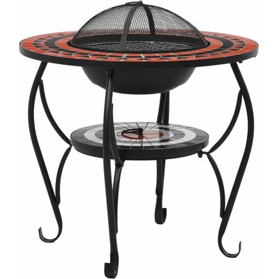 Mosaic Fire Pit Table Terracotta and White 68 cm Ceramic QAH30088 - Hommoo