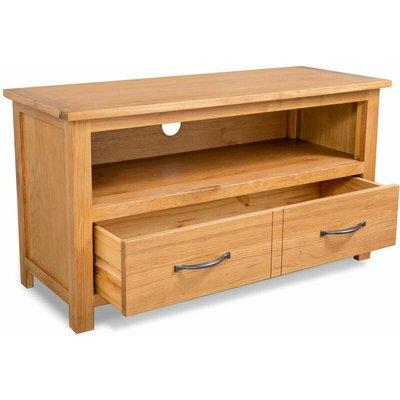 TV Cabinet 90x35x48 cm Solid Oak Wood QAH10569 - Hommoo