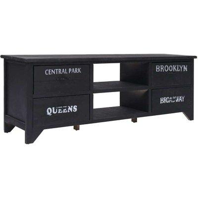 TV Cabinet Black 115x30x40 cm Wood VD24662 - Hommoo