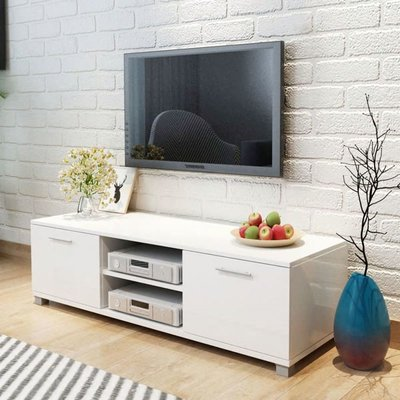TV Cabinet High-Gloss White 120x40.3x34.7 cm VD09607 - Hommoo
