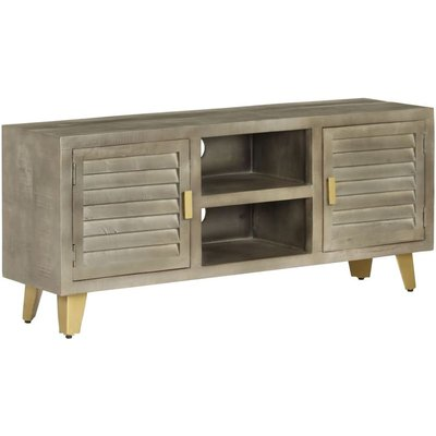Hommoo TV Cabinet Solid Mango Wood Grey with Brass 110x30x48 cm VD12606