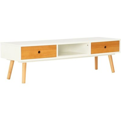 TV Cabinet White 120x35x35 cm Solid Pinewood QAH25450 - Hommoo