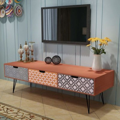 TV Cabinet with 3 Drawers 120x40x36 cm Brown VD09789 - Hommoo