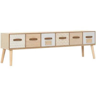 TV Cabinet with 6 Drawers 130x30x40 cm Solid Pinewood VD13275 - Hommoo