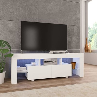 Hommoo TV Cabinet with LED Lights High Gloss White 130x35x45 cm VD24425