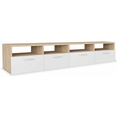 Hommoo TV Cabinets 2 pcs Chipboard 95x35x36 cm Oak and White QAH18049