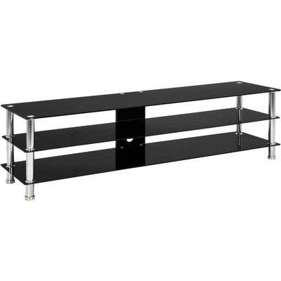 Hommoo TV Stand Black 150x40x40 cm Tempered Glass VD22243