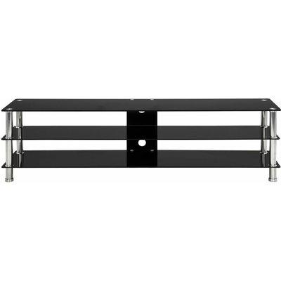 TV Stand Black 150x40x40 cm Tempered Glass QAH22243 - Hommoo