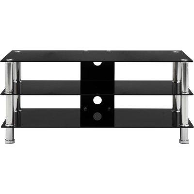 TV Stand Black 90x40x40 cm Tempered Glass QAH22245 - Hommoo
