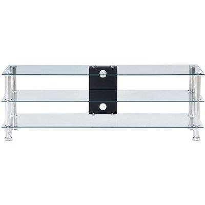 TV Stand Transparent 120x40x40 cm Tempered Glass QAH22247 - Hommoo