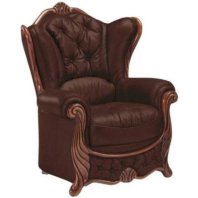 Idaho Wingback Chair Genuine Italian Leather Offer - DESIGNER SOFAS 4 U