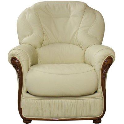Designer Sofas 4 U - Indiana Genuine Italian Sofa Armchair Cream Leather
