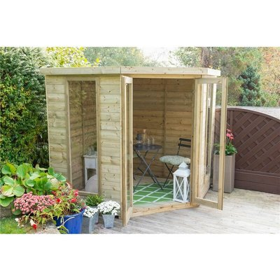 Worcester Summerhouses - INSTALLED 7 x 7 Tongue and Groove Corner Summerhouse (2.96m x 2.30m) INSTALLATION INCLUDED Core (BS)