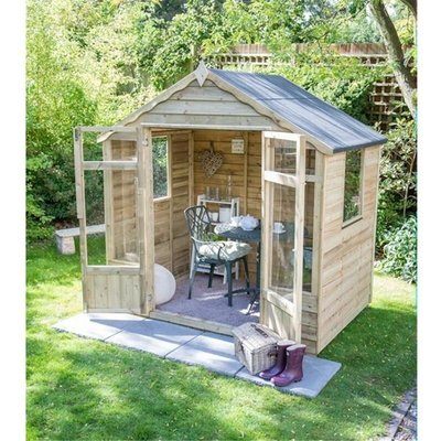 INSTALLED 8 x 6 Pressure Treated Overlap Summerhouse (258cm x 193cm) INSTALLATION INCLUDED (CORE) - WORCESTER SUMMERHOUSES