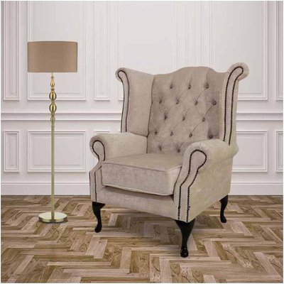 Ivory Velvet Queen Anne with Crystals High Back Wing chair | DesignerSofas4U - DESIGNER SOFAS 4 U