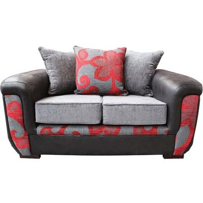 Julia 2 Seater Fabric Sofa Upholstered In Charcoal Red - DESIGNER SOFAS 4 U
