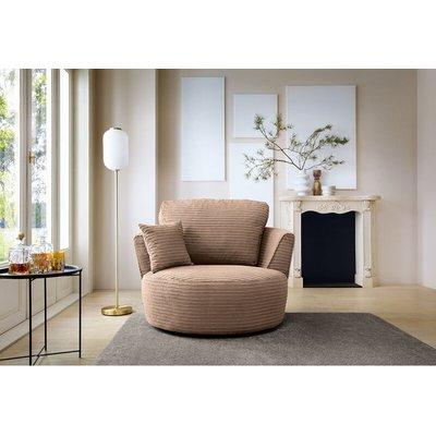 Jumbo Cord swivel chair - Brown - color Brown - ABAKUS DIRECT