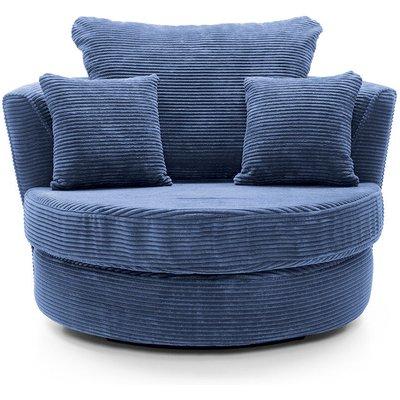 Jumbo Cord Swivel Chair - color Blue - ABAKUS DIRECT