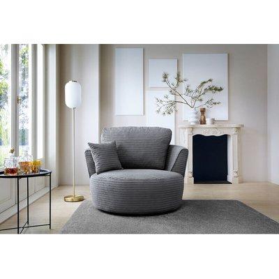 Jumbo Cord swivel chair - Grey - color Grey - ABAKUS DIRECT