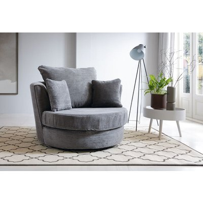 Jumbo Cord swivel chair - Grey - color Grey