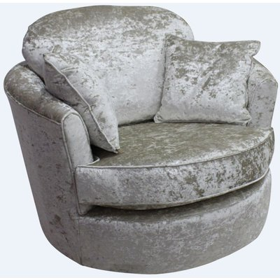 Jupiter Cuddler Swivel Chair | Snuggle Swivel Armchair Senso Pearl Velvet Fabric - DESIGNER SOFAS 4 U
