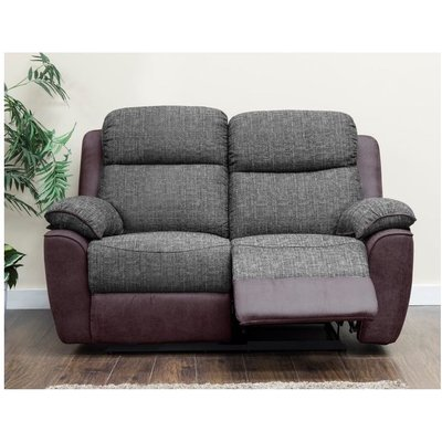 Designer Sofas 4 U - Kansas 2 Seater Reclining Fabric Sofa Brown