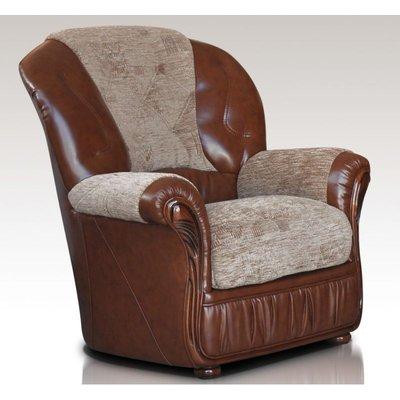 Designer Sofas 4 U - Kansas Armchair Genuine Italian Brown Leather Fabric Sofa Offer