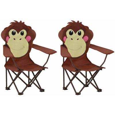 Kids' Garden Chairs 2 pcs Brown Fabric - VIDAXL