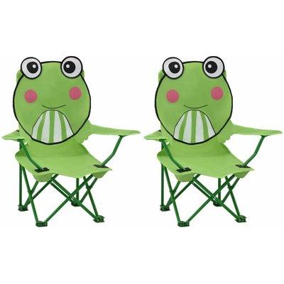 Kids' Garden Chairs 2 pcs Green Fabric - VIDAXL