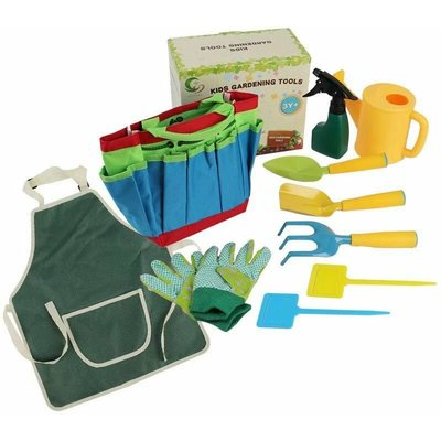 Kids garden tools Outdoor play set and carry bag including watering can, shovel, rake and fork, gardening tools for kids, gardening gloves, watering