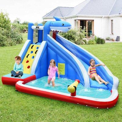 Costway - Kids Inflatable Bouncy Castle Jumper House Pool Water Slide w/ Portable Bag