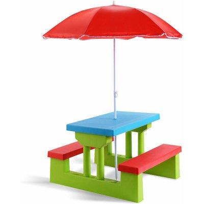 Kids Picnic Table Set Indoor Outdoor Children Play Set W/ Removable Umbrella