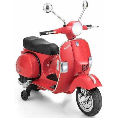 Costway - Kids Ride On Motorcycle Vespa Licensed 6V Electric Ride on Car Music LED Lights