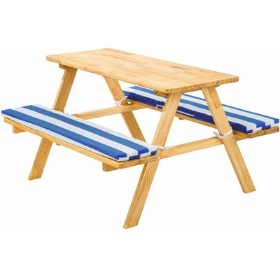 Tectake - Kids wooden picnic bench - picnic bench, childrens picnic bench, kids picnic bench - blue/white