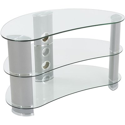 King Premium TV Stand Clear Glass Curved 85cm suitable up to 42' inch for HD Plasma LCD LED OLED Curved TVs